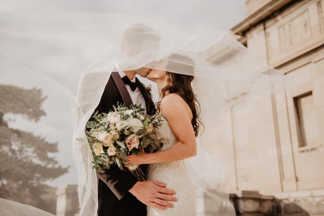 couple celebrating wedding